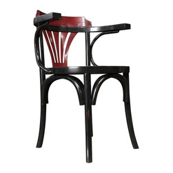 "Inviting Home - Black and Red Navy Chair - This chair was never surpassed in versatility. It�ll survive a students dorm room. It�ll faithfully and decorously serve as dining chair...; 21-3/4 x 23-1/2 x 31""H Navy chairs shape goes back a hundred years; its mystique is that of early 1900�s offices and bureau d��tat� The still hand made precursor of the wheeled steel contraption known from movies inspired by the 1930s NYPD. Never surpassed in versatility. This chair will survive a students dorm room it will faithfully and decorously serve as dining chair. Navy chair will fill a corner and captivate the connoisseur or true heritage."