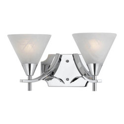 Contemporary 2 light Bath/Sconce in Plated Chrome -