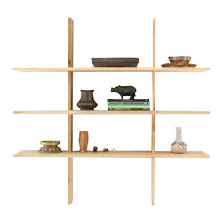 El Dot Designs - Grid Locking Shelves, Small - Handcrafted Bamboo Ply pieces lock onto one another with simple lap joints to create our Grid Locking Shelves. They are modular - creating a small, medium or large wall shelf fit to highlight precious pieces, or keep a few books.