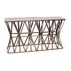 Criss Cross Console - This fantastic metal console would be a great side table or entryway table. Beautiful metal patina which comes from reclaimed industrial products.