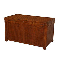 Wicker Paradise - Large Wicker Trunk - Savannah - The Savannah Wicker Storage Trunk Large Size is perfect for storage of toys, blankets and linens. It features a wood lining on all sides and on the top to protect your linens and delicate items. Wicker bun feet and a distinctive rattan braid add charm to this quite functional and versatile storage trunk.