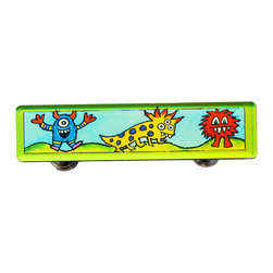 Paper Scissors Rock - Monster Drawer Pull - Our Drawer Pulls are exclusively available online on Houzz.com. These colorful accents will brighten up any room, cabinet or piece of furniture. Each one starts with an original watercolor by artist Pamela Corwin, which is reproduced and sandwiched in between two durable layers of durable acrylic and mounted on a chrome finished base.  This monster pull is perfect for your child's bureau, cabinet or even in the bathroom. Standard 8-32 screws included. Chrome finish on pedestals.