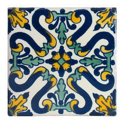 Floral Pattern Talavera Tiles, Box of 15