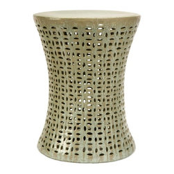 """IMAX - Moers Cutwork Garden Stool - Add a zen-like f ling to any outdoor garden or patio with this ornate garden stool with cutwork design. The intricate carvings and design have an organic tribal f l. Whether you choose to use this stool as a seat or a garden accessory, you will love the beauty it adds to your outdoor garden or patio.  Item Dimensions: (18.5""""h x 14""""d)"""