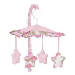Sweet Jojo Designs - Sweet Jojo Designs Camo Crib Musical Mobile in Pink/Khaki - Create an adorable nursery for your little soldier with the Sweet Jojo Designs Camo Crib Musical Mobile. Adorned with a beautiful star design in an army themed camo print in pink, the mobile soothes your little one to sleep with Brahms' Lullaby.