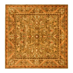 Safavieh - Traditional Antiquities Square 6' Square Sage - Gold Area Rug - The Antiquities area rug Collection offers an affordable assortment of Traditional stylings. Antiquities features a blend of natural Charcoal color. Hand Tufted of Wool the Antiquities Collection is an intriguing compliment to any decor.