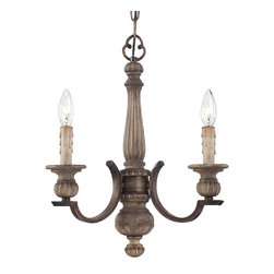 """Frontgate - Regents 3-light Mini Chandelier - Frontgate - Three-light chandelier elegantly finishes small spaces. Wood-grained with a rich brown patina finish. Uses 60-watt max candelabra bulbs. 72"""" chain length. Adjustable height. For breakfast nooks and other cozy spaces, our Regents Three-Light Mini Chandelier offers a petite version of our Regents Nine-Light Chandelier. Inspired by authentic designs, the turned center column is carved into a delightful blend of shapes, presenting a refined translation of American folk art style.  .  .  .  .  ."""