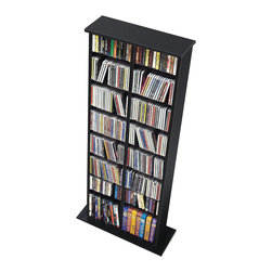 Prepac - Prepac Black Double Multimedia Storage Tower (Holds 320 CDs) - Attractive and versatile, the double multimedia storage tower is a practical storage solution for your media collection. Its shelves, separated by a central divider, boast room for over 300 CDs. Each shelf is fully adjustable, meaning you're free to customize according to your collection's needs. Fill and sort through your collection with ease, thanks to the horizontal storage. Attractive and functional, this tower is perfect for the casual collector.