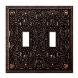 Creative Accents Steel 2-Toggle Wall Plate, Antique Bronze - It's so easy to change light switch covers, so go ahead and snag some with interesting designs.