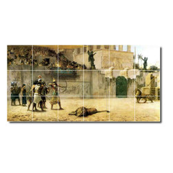 Picture-Tiles, LLC - The Diversion Of An Assyrian King Tile Mural By Frederick Bridgman - * MURAL SIZE: 24x48 inch tile mural using (18) 8x8 ceramic tiles-satin finish.