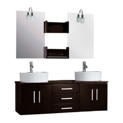 "The Tub connection - 59 Inch Espresso Double Sink Wall Mounted Wood Bathroom Vanity Set- ""Callaway"" - A contemporary style of bathroom vanity, the Callaway is wall mounted vantiy that adds style and class to any bathroom. The dark Espresso cabinet has three drawers that have soft close hinges at no additional cost. The dual matching mirrors come with two Espresso shelves for display of and easy reach of items. Two round vessel sinks sit on the water resistant cabinet making a striking contrast. Two tall, single stem faucets rise above the vessel sinks and for ease of installation, the set comes with supply lines, p traps and drains. This complete set will add beauty to your home. Complete contemporary wooden wall mounted vanity and sink set."