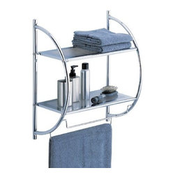 Organize It All - Shelf with Towel Bars, Two Tier - Maximize your bathroom space with this 2 Tier Shelf with Towel Bars. This will help to free up your counter space while providing more storage for clean towels and bathroom necessities. The chrome finish complements any decor.
