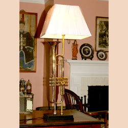 Brass Trumpet Table Lamp - Musical instrument lamps are always in demand, but this exceptional brass trumpet lamp will resonate in your conservatory or living room. Vintage King Cleveland 600 trumpet (Serial # 542739) on a hand made stepped wood base.
