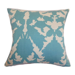 """The Pillow Collection - Fakahina Damask Pillow Turquoise 18"""" x 18"""" - Liven up your interiors by propping this chic and intricate damask throw pillow. This contemporary pillow comes with a refreshing turquoise blue and white color palette. The exquisite damask print pattern adds a playful touch to the down-filled square pillows. Blend in solids and patterns for an eclectic look on your living room or bedroom. Hidden zipper closure for easy cover removal.  Knife edge finish on all four sides.  Reversible pillow with the same fabric on the back side.  Spot cleaning suggested."""