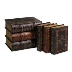 Home Decorators Collection - Cassiodorus Book Box Collection - Set of 6 - The Cassiodorus Book Box Collection is perfect for your home office, your living room or spread throughout your entire home for a little extra storage and a lot of style. Each of these home accents has a classic book design and opens up to reveal a place for your odds and ends. Add them to your home decor; order now.Beautifully made of resin with a textured, multi-colored finish.This set of 6 book boxes have a classic look to complement many decorating styles.