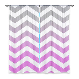 "DiaNoche Designs - Window Curtains Unlined - Monika Strigel Chevron Pink Grey - DiaNoche Designs works with artists from around the world to print their stunning works to many unique home decor items.  Purchasing window curtains just got easier and better! Create a designer look to any of your living spaces with our decorative and unique ""Unlined Window Curtains."" Perfect for the living room, dining room or bedroom, these artistic curtains are an easy and inexpensive way to add color and style when decorating your home.  The art is printed to a polyester fabric that softly filters outside light and creates a privacy barrier.  Watch the art brighten in the sunlight!  Each package includes two easy-to-hang, 3 inch diameter pole-pocket curtain panels.  The width listed is the total measurement of the two panels.  Curtain rod sold separately. Easy care, machine wash cold, tumble dry low, iron low if needed.  Printed in the USA."