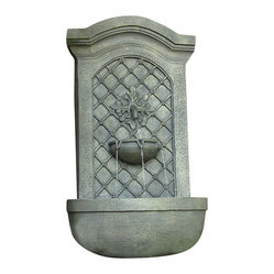 "Serenity Health & Home Decor - Rosette Leaf Outdoor Wall Fountain French Limestone - Dimensions: 17""Wide x 10"" Deep x 31""High, 13 lbs"