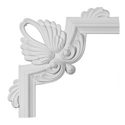 """Ekena Millwork - 16 1/2""""W x 16 1/2""""H Bedford Panel Moulding Corner - 16 1/2""""W x 16 1/2""""H Bedford Panel Moulding Corner. Our beautiful panel moulding and corners add a decorative, historic, feel to walls, ceilings, and furniture pieces. They are made from a high density urethane which gives each piece the unique details that mimic that of traditional plaster and wood designs, but at a fraction of the weight. This means a simple and easy installation for you. The best part is you can make your own shapes and sizes by simply cutting the moulding piece down to size, and then butting them up to the decorative corners. These are also commonly used for an inexpensive wainscot look."""