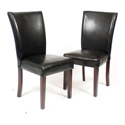 Furnituremaxx - Pau Black Leatherette Parsons Chairs with Cherry Finish Wood Legs, Set of 2 - A pair of clean and contemporary pieces that may be used as accent chairs or dining chairs. The dark cherry finish wood legs hold the dark brown leatherette PVC seat with a high back.