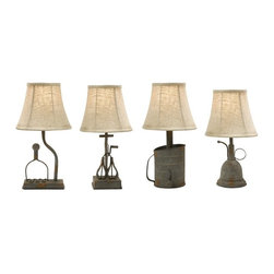 "IMAX CORPORATION - Mayberry Utensil Mini Lamps - Set of 4 - Set of four Mayberry utensil lamps to add a unique rustic look to your space. Comes in various sizes measuring around 36.5""L x 9.25""W x 15.25""H each. Shop home furnishings, decor, and accessories from Posh Urban Furnishings. Beautiful, stylish furniture and decor that will brighten your home instantly. Shop modern, traditional, vintage, and world designs."