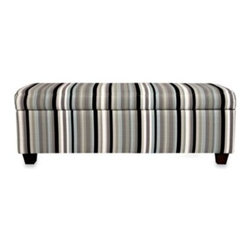 "Angelo:home - angelo:HOME Kent Storage Bench in Mid Century Black Stripe - This convenient wall-hugger bench can fit up against a wall while still letting you easily open its lid. Designed by Angelo Surmelis it combines modern lines with traditional details. Measures 51 1/2"" W x 19"" D x 17"" H."