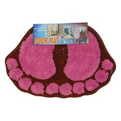 Four Seasons - Foot Prints Hot Pink-Red Shaggy Accent Floor Rug Door Mat - Features: