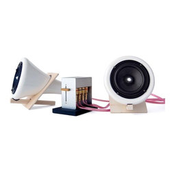 """JOEY ROTH - Joey Roth Ceramic Speakers - These handcrafted ceramic speakers are designed to leave the sound untouched, warm, dry, and detailed. Their 4"""" full-range drivers and T-class amplifier, encased in acoustically dead porcelain and cork, create a remarkably simple path from source to ear."""