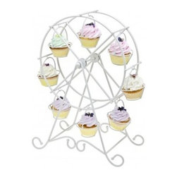 Godinger Silver - White Ferris Wheel Cupcake Holder - Whimsical and awesome, this Ferris Wheel Cupcake Holder by Godinger Silver will dress up your cupcakes or mini confections in a most charming fashion. Even perfect for the Eggs on Easter Day. This white dessert holder will arouse gaping mouths and shining eyes as your delectables go round and round. Ideal to use this cutesy Ferris Wheel Cupcake Stand as a table centerpiece at any carnival themed party, birthday party, wedding or even baby shower. * Can hold 8 Cupcakes
