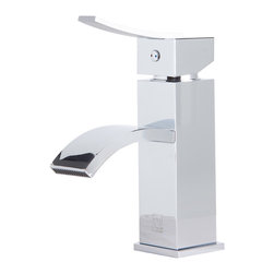 ALFI - ALFI Polished Chrome Square Body Curved Spout Single Lever Bathroom Faucet - This Italian inspired faucet is designed with a cascading water flow, creating a romantic and welcoming atmosphere in any bathroom.