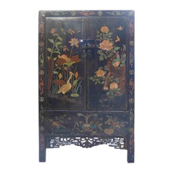 Golden Lotus - Chinese Hand Painted Birds & Lotus Flowers Wooden Cabinet Armoire - You are looking at a Chinese hand painted birds & lotus flowers graphic wooden cabinet.