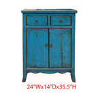 Blue Chinese Ming Style Nightstand End Table Side Cabinet - This is Chinese Ming style nightstand end table which is made of solid elm wood. It comes with unusual blue color and it can be used as side cabinet.