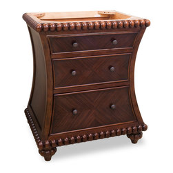 Hardware Resources - Lyn Design VAN035 Wood Vanity, Without Top - This beaded beauty has loads of unique details that set it apart as a one-of-a-kind vanity. The row of rosewood-edged baubles adds softness to the design, while the chevron markings in the drawers provides strength and order. This piece is both classic and fun, making it a must-have for your bathroom.