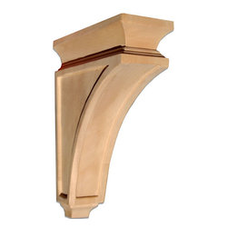 "Inviting Home - Delray Large Craftsman Wood Bracket - Beech - wood bracket in beech wood 12""H x 9""D x 3-1/2""W Corbels and wood brackets are hand carved by skilled craftsman in deep relief. They are made from premium selected North American hardwoods such as alder beech cherry hard maple red oak and white oak. Corbels and wood brackets are also available in multiple sizes to fit your needs. All are triple sanded and ready to accept stain or paint and come with metal inserts installed on the back for easy installation. Corbels and wood brackets are perfect for additional support to countertops shelves and fireplace mantels as well as trim work and furniture applications."