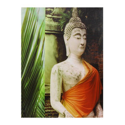 Oriental Furniture - Orange Draped Buddha Canvas Wall Art - Sharp photograph of a white mortar sculpture of the Buddha in front of a temple in Southeast Asia, spliced with a close-up of a palm frond. The rich green of the leaf compliments the bright saffron sash adorning the statue. High resolution image is printed on artists' quality canvas mounted on a light wood frame.