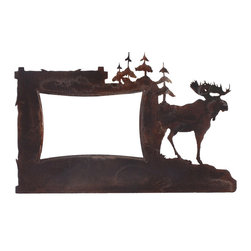 Ironwood - Moose And Pine Tree Rustic Iron Picture Frame, 4x6 Metal Frame - One  of  several  popular  rustic  picture  frames,  this  iron  photo  frame  with  a  moose  standing  guard  near  the  pine  trees.  This  beauiful  rust  patina  frame  will  look  right  at  home  on  the  walls  of  your  lodge  or  cabin.  Or,  purchase  a  few  as  gifts  and  frame  a  photo  of  your  last  autumn  hunting  excursion.  Tabletop  display  hardware  only.