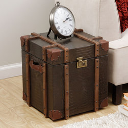 None - Journey Natural Croc-embossed Leather Trunk Side Table - Enhance your home, living or bed decor with the uniquely styled Journey trunk side table. With a soft, durable cover and spacious interior, this timeless table is perfect for hiding storage and adding a touch of rustic style to any room.
