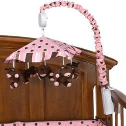 Trend Lab - Maya Musical Mobile - This playful pink mobile with chocolate and caramel accents features five velour bears that spin to Brahm's Lullaby. Attaches to most standard cribs.