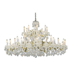 "Inviting Home - Maria Theresa Crystal Chandeliers (Premium Crystal), Premium Crystal - large clear and gold Maria Theresa style crystal chandelier; 60"" x 35""H (40 lights); assembly required; 40 light premium clear crystal chandelier with hand-molded arms and cut crystal trimmings; all metal parts have gold finish; genuine Czech crystal; * ready to ship in 2 to 3 weeks; * assembly required; This chandelier is a part of Maria Theresa Collection. At their start the chandeliers bearing the name of Maria Theresa were made on the occasion of the Empress's coronation as queen of Bohemia in 1743. This fact is hidden in the shape of these lighting fixtures reminiscent of the royal crown. Their characteristic feature is the arms' typical flat surface clad with glass bars. The bars are fixed to the arms by glass rosettes and beads with dangling cut crystal chandelier trimmings. These ravishing fixtures were inspired by a chandelier made for Maria Theresa in Bohemia in the mid 18th century. However not only the empress became fond of it; so did many others who fancied the style and the majestic manners after her. Typical elements are metal arms overlaid with glass bars and decorated with crystal rosettes. Originally the trimming was made of typical flat drops called ""pendles"". Today trimmings of various shapes are used. Premium crystal. A sumptuous type of chandelier trimmings. Fire of the rainbow spectrum brilliance limpidity glitter and perfect scattering and dispersion of light - these are their main features resulting from precise cutting using electronically controlled machines but also from high quality crystal containing more then 30% of lead. Traditional mastery and the revealed mystery of the glass substance blend together with modern technologies and first-rate design in each of these unique pieces. Chandeliers dressed with these trimmings of exceptional beauty will lend an air of grandeur to the ambiance even of the most prestigious interiors. The tradition of production luxurious appearance and classical morphology are the common denominator of all these chandeliers. To manufacture these almost 90 percent is hand-completed: mouth-blowing cutting and other techniques applied when working glass and metals. Machine-cut crystal chandelier trimmings and artistically chased metal parts provide a stamp of luxury. Devotees of these lighting fixtures come mostly from the circles of the lovers of magnificent designs created in the style of the timeless classic. Every component passes thorough strict internal Quality Control processes. Highest quality European production with certified standards. UL approved - dry location; hardwire; 40x E12/14 - 40W bulbs; bulbs not included. 3 to 4 feet chain drop provided. Hand crafted in Czech Republic."