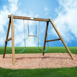 Creative Playthings Classic Swing Set - A backyard necessity Creative Playthings' Classic Swing Set works hard and plays hard. Available in multiple configurations this classic swing set is sure to be a perfect fit for you and your family. Each swing set includes two sling swings one ring trapeze bar and your choice of rope or plastic-coated chain attachments. Made in the USA with homegrown Southern Yellow Pine Creative Playthings has gone the extra mile to ensure your children's safety and playtime satisfaction. All wood components are stained sealed and preserved with non-toxic wood treatment. Ny-Glide swing hangers allow for easy removal of swinging accessories no additional hardware required. Recessed bolts and plastic caps eliminate dangerous exposed hardware. Sturdy A-frame construction structural metal plates and angled brace supports make this swing set a safe bet.Creative Playthings has taken all of the guesswork out of assembling your new swing set. All lumber has been cut to length and pre-drilled for the included thru-bolted flush-fit hardware. Wooden ground stakes also included complete the installation process no cement required. A comprehensive assembly manual with step-by-step instructions will guide you through the assembly process. When choosing the perfect location for your swing set please allow for a 6-foot play perimeter.Includes the following accessories:2 sling swings1 ring trapeze barAbout Creative PlaythingsSince 1951 Creative Playthings has been building wooden swing sets and swing set accessories at their plant in Emporia Virginia. Creative Playthings cares deeply about the lives of American children as well as the livelihood of their American workers and all of their play systems are proudly Made in the USA. Creating beautiful functional children's play sets are not the sole goal at Creative Playthings' headquarters. The mission of Creative Playthings is to introduce exercise build self-confidence and develop the imaginations of young children so that they can grow to be well-rounded teens and adults. And for them that mission starts in the backyard.