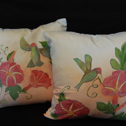 Hand painted pillow shams - Front of this two pillow covers has a red color Morning Glory Flowers with green leafs and humming birds with light peach and little blue on a background.