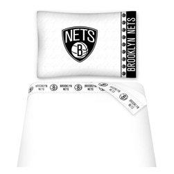 Sports Coverage - NBA Brooklyn Nets Twin Sheet Set Basketball Logo Bedding - Features: