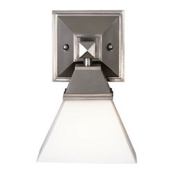 Forecast Lighting - Single-Light Sconce with Pyramid Shade - F473636 - The pyramid shade and a square mounting arm make this piece a true statement of solid sophistication. The etched white glass provides a soft even glow, while the large opening lets light radiate freely. Takes (1) 60-watt incandescent A19 bulb(s). Bulb(s) sold separately. Dry location rated.
