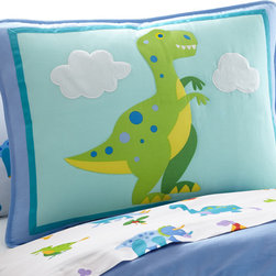 Wildkin - Olive Kids Dinosaur Land Sham - This pillow sham perfectly coordinates with all our Dinosaur Land bedding. It features a ferocious T-Rex and has embroidered details and plush accents.