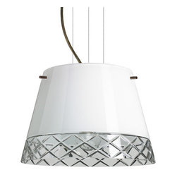 Besa Lighting - Besa Lighting 1KG-4393WC-LED Amelia 1 Light LED Cable-Hung Pendant - Amelia features a tapered drum shape, open at the top, that fits beautifully in transitional spaces. Our White Hand-cut glass is hand-blown clear glass with a stunning edge cut diamond pattern. The contemporary glossy white finish is a dramatic contrast to the sparkling refractive effect created when the cut edges are illuminated. This blown glass is handcrafted by a skilled artisan, utilizing century-old techniques passed down from generation to generation. The cable pendant fixture is equipped with three (3) 10' silver aircraft cables and 10' AWM cordset, and a low profile flat monopoint canopy.Features: