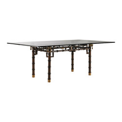 Lexington - Lexington Henry Link Trading Co. Marlborough Dining Table 4011-402C - An elegant bamboo design in metal with solid brass lion's head hardware supporting a floating 84 x 48 inch glass top. Solid brass rosettes accent the apron, and highlight the intersection of the cross stretcher beneath the glass. At the base, the table legs are trimmed with brass ferrules. All brass is hand-cast using the lost wax casting.