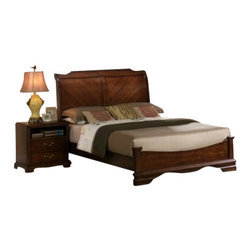 """CBCB2800 - 4-Piece Patricia Collection Queen Antique Cherry Oak Finish Wood Sleigh Bed - 4-Piece Patricia collection queen antique cherry oak finish wood sleigh bed headboard and low foot board. This set includes the queen bed frame set, one nightstand, Dresser and Mirror. bed measures 88"""" x 65"""" x 54"""" H. Nightstand measures 26"""" x 17"""" x 26"""" H. Dresser measures 64"""" x 17"""" x 38"""" H. Mirror measures 47"""" x 2"""" x 37"""". Some assembly may be required. Optional chest available separately at additional cost and measures 36"""" x 17"""" x 46"""" H."""