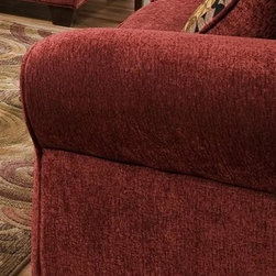 American Furniture - Upholstered Chair in Burgundy - Cannot be shipped to California - not compliant with CA code. Includes pillow. Upholstered. Burgundy. 45 in. W x 65 in. D x 45 in. H