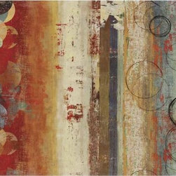 Paragon Decor - Field of Blue Artwork - Reds and greens meld, along with plunging ringlets.  Canvas is wrapped around wood stretcher bars and features a gallery style wrap.