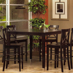 """Alpine Furniture - Bayview 7 PC Pub Dining Set - Bayview 7 PC Pub Dining Set; This set includes Solid Wood Pub Table and 6 pcs Side chairs; Dark Cherry Finish; Product Material: Rubberwood Solids; Seat Height: 26""""; Country of Origin: Vietnam; Dimensions: Table: 48""""L x 48""""W x 38""""H; Chairs: 18""""L x 17""""W x 42""""H"""