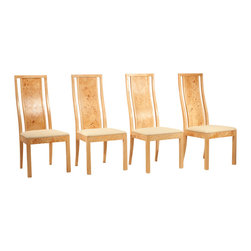 Thomasville - Consigned Mid Century Modern Burled Olive Wood Dining Chairs by Thomasville - •Mid Century Modern   Hollywood Regency